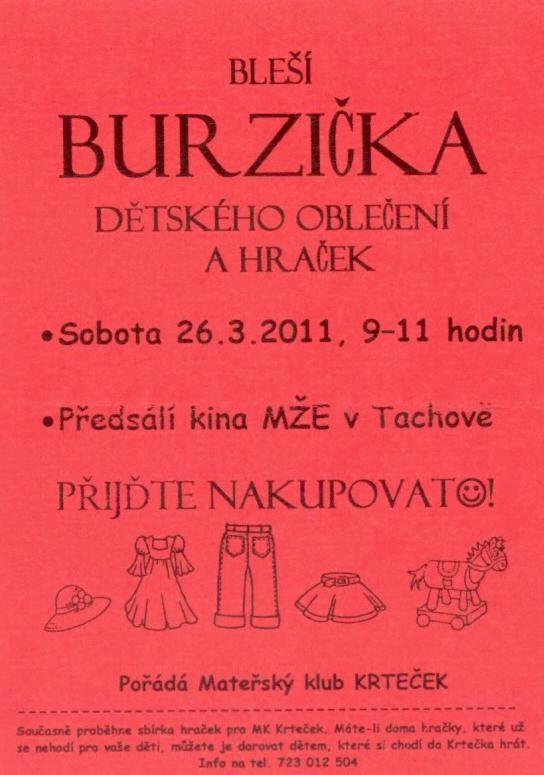 Bleší burzička dětského oblečení a hraček | sobota 26.3.2011, 9-11 hodin | předsálí kina MŽE v Tachově
